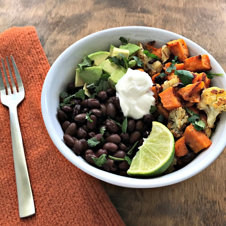 Roasted Sweet Potato & Cauliflower Power Bowl - Brittany Poulson, RD of Your Choice Nutrition