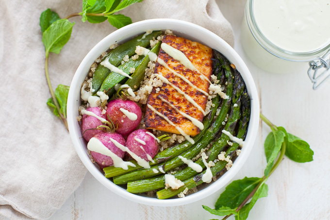 Spring Vegetable Buddha Bowl with Minty Cashew Dressing - Kara Lydon Evancho, RD of The Foodie Dietitian