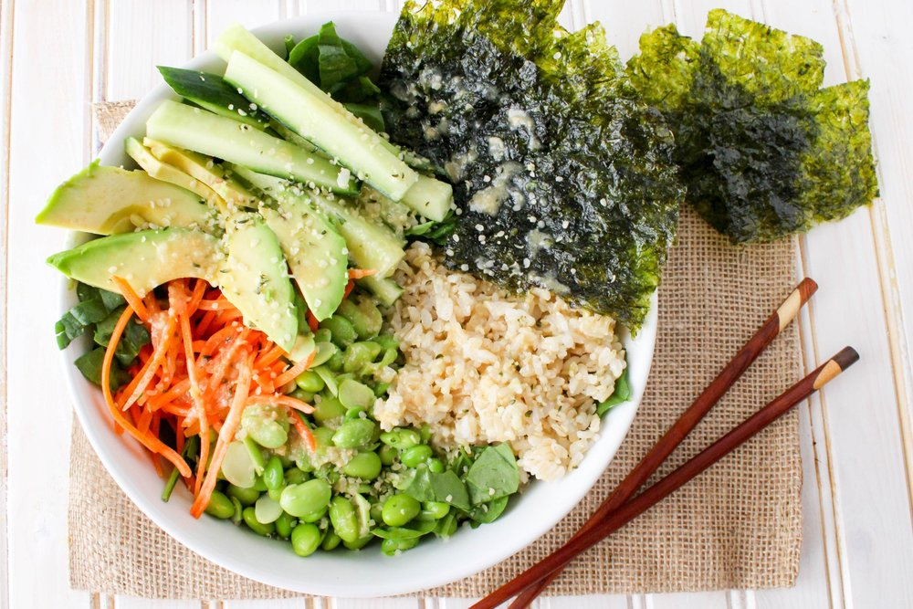 Vegan Deconstructed Sushi Salad Bowl with Sesame Ginger Miso Dressing - Stephanie McKercher, RD of The Grateful Grazer