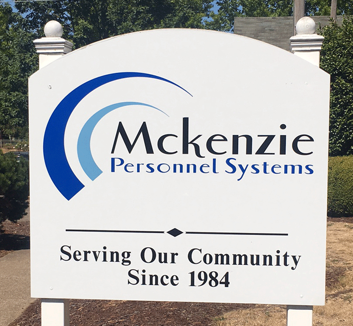 The Front Yard Sign for McKenzie Personnel Systems