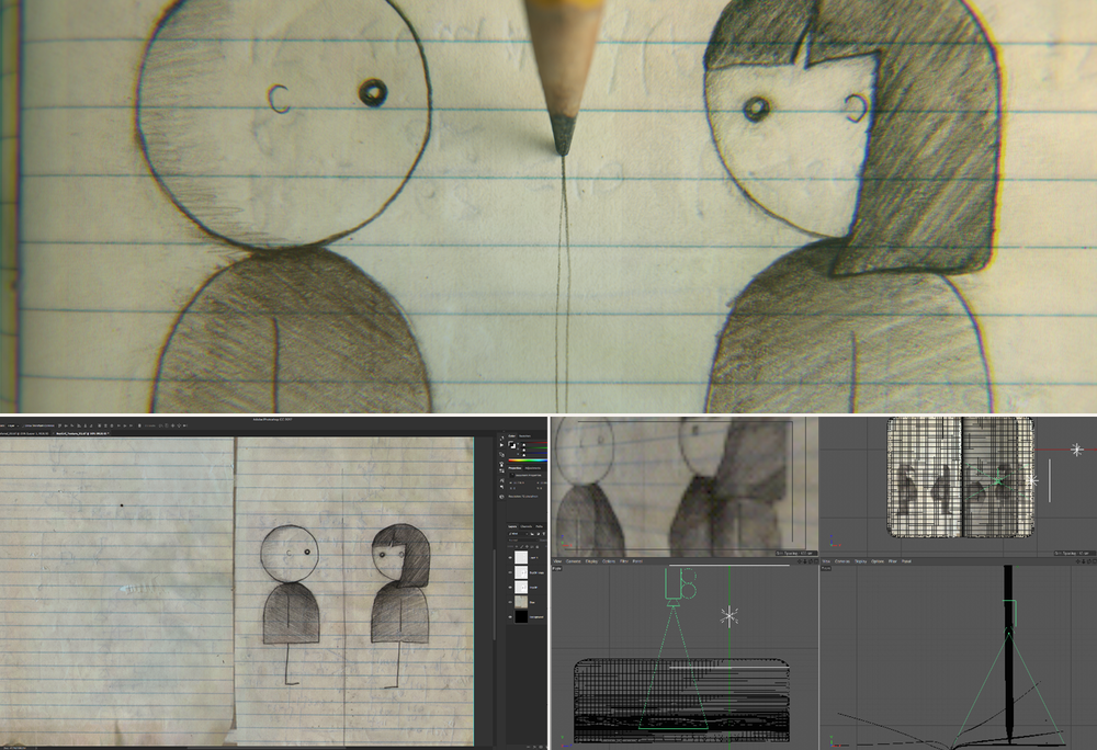 Final Render (top) and the page being animated in Cinema 4D (below)