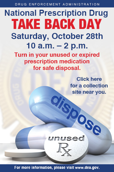 SAFE in Sag Harbor and the  Sag Harbor Police Department  will take back prescription and non-prescription meds for safe disposal at the Sag Harbor Firehouse on Main Street.