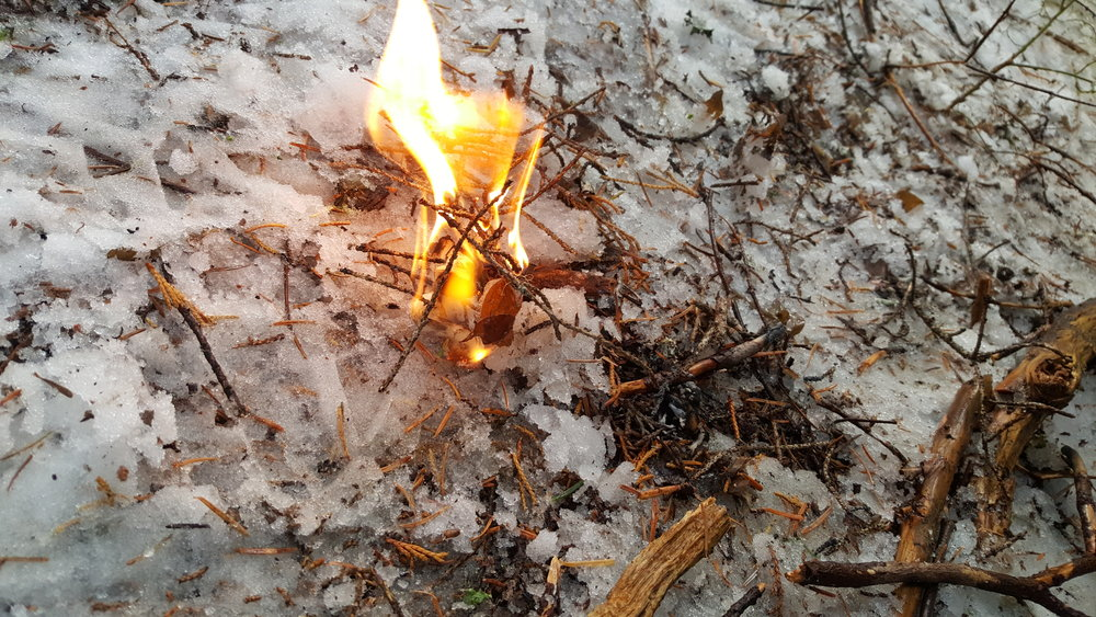If I really needed a fire, I'd clear or build a proper base. Even on snow, though, my young flame is growing nicely.