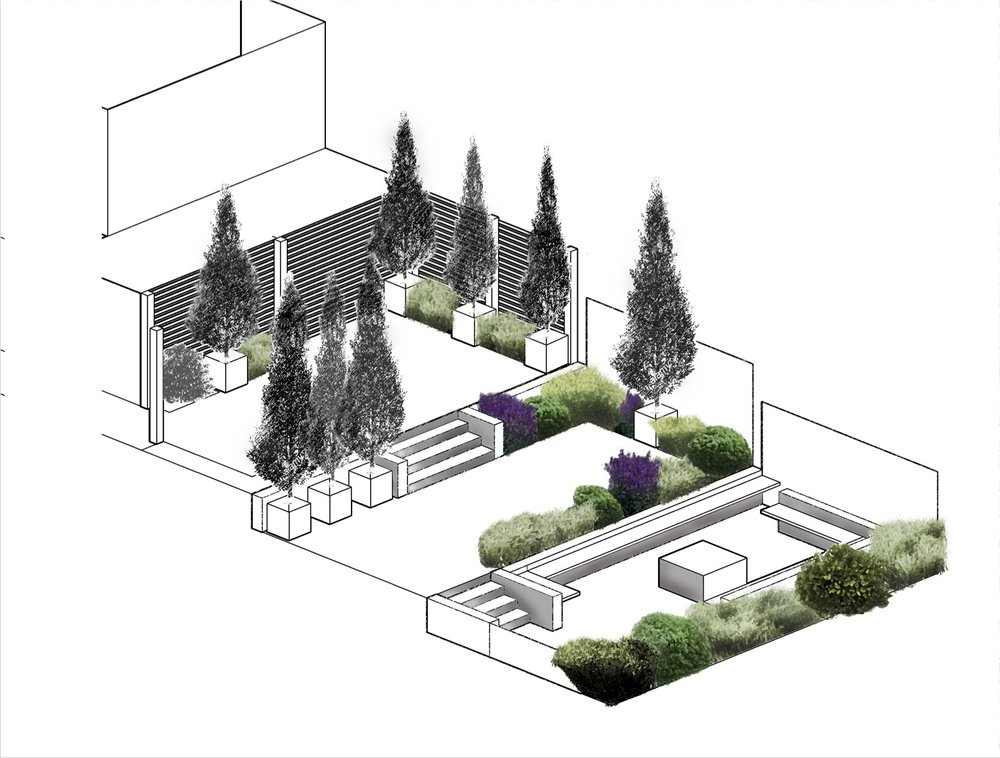 Chained to the computer and sketch pad... slope garden design.