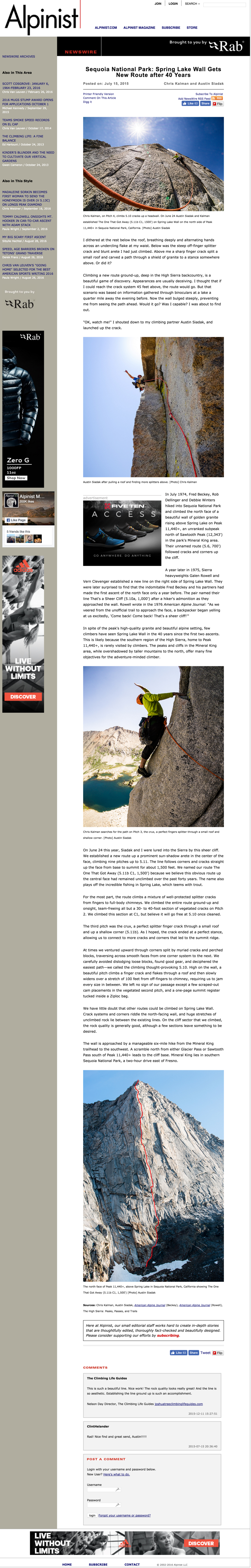 alpinist - Sequoia National Park  Spring Lake Wall Gets New Route after 40 Years   Alpinist.com.png