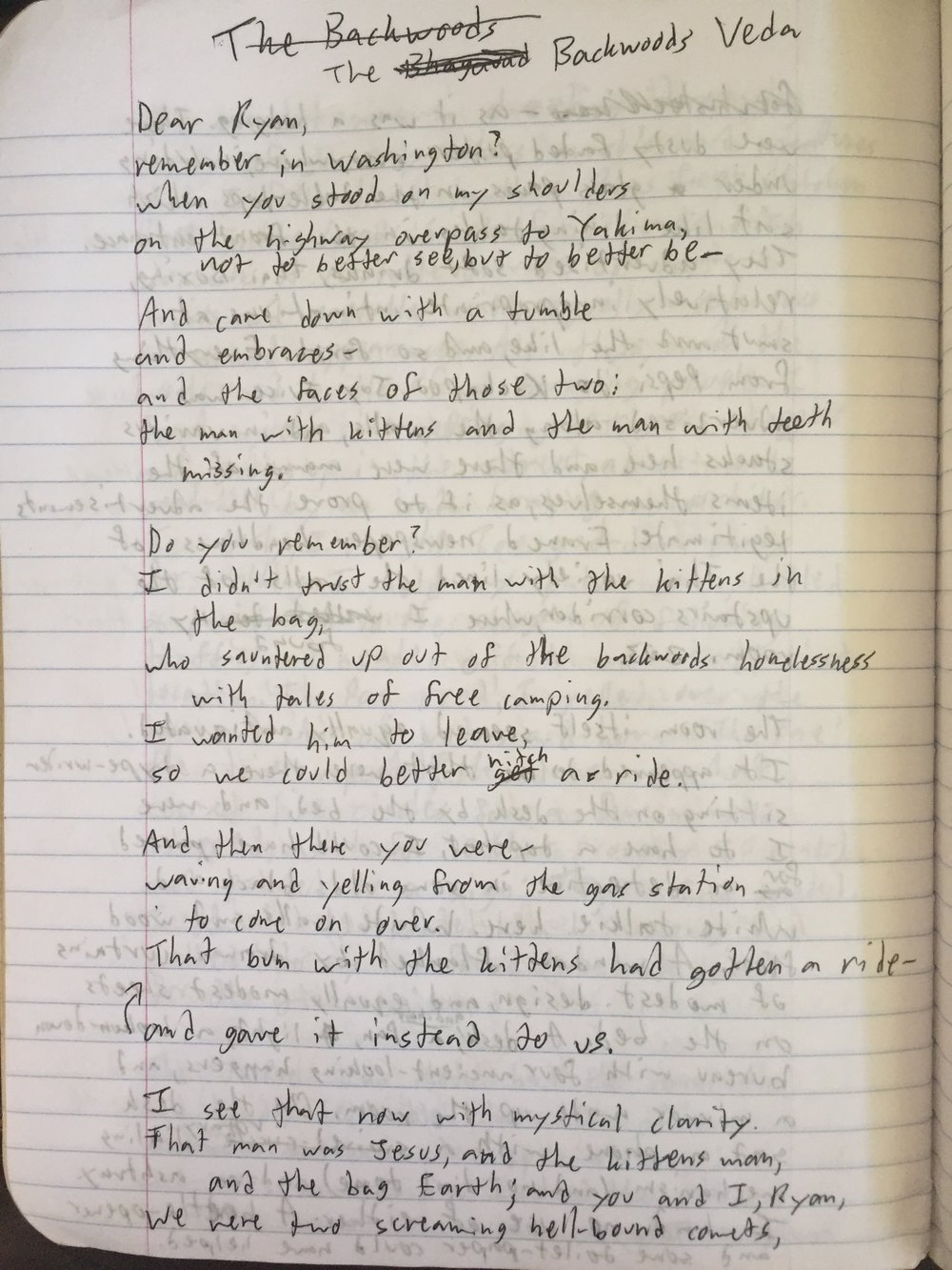 Backwoods veda a poem for ryan kramer chris kalman while flying on a plane some years ago some years in fact after writing backwoods veda a poem for ryan kramer i decided to write a random letter to a guy expocarfo Gallery