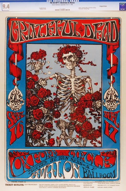 This Grateful Dead Skeleton and Roses FD-26 concert poster was auctioned for a world record price of $50,600