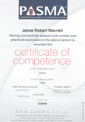 PASMA Certificates  Click image to open