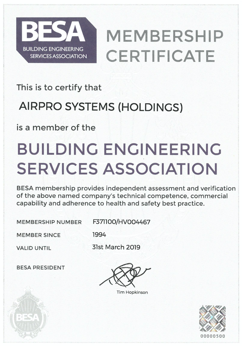 BESA Certificate  Click image to open