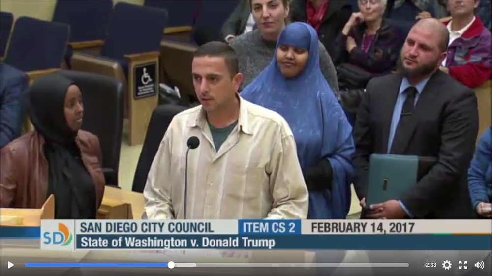 Mustafa Dib, community organizer, addresses San Diego City Council