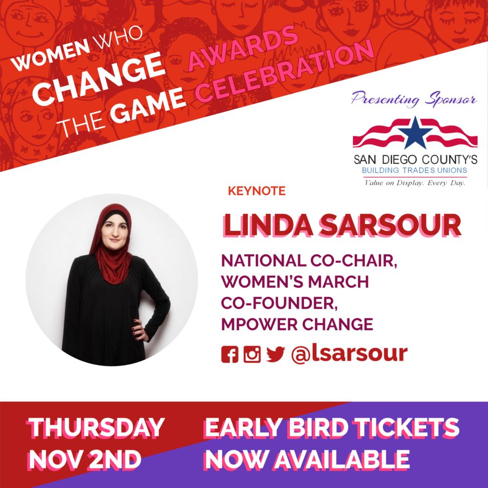 Early Bird Sale! Nov 2 Awards Celebration Linda Sarsour Keynote