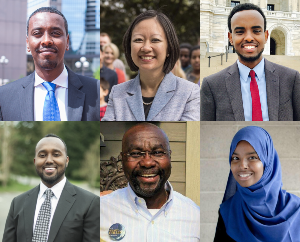 Top row: Abdi Warsame, Kathy Tran, AK Hassan. Bottom row: Zak Idan, Wilmot Collins, Fartun Ahmed.
