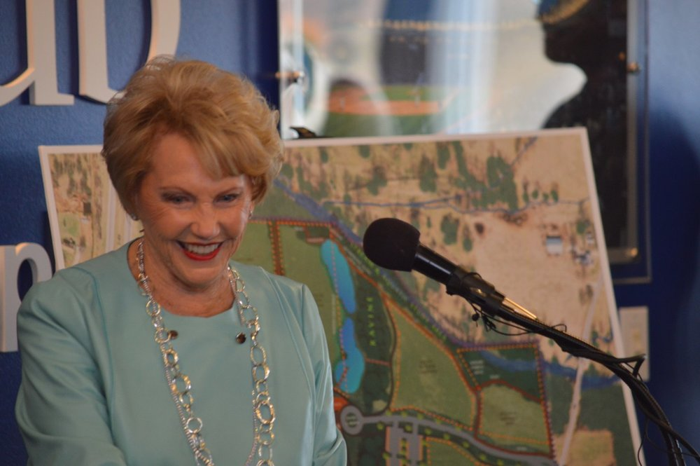 Johnelle Hunt talked earlier today about her family's $5 million contribution to a $15 million capital campaign. The money will be used to build the J.B. Hunt Family Northwest Arkansas Nature Center in Springdale.