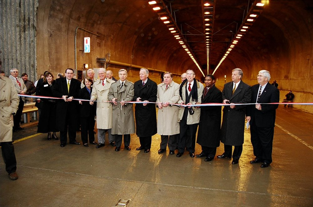 Dignitaries gathered in January 1999 in the Bobby Hopper Tunnel to celebrate the opening of Interstate 540 (now I-49) between Mountainburg and Fayetteville. The completion of the highway dramatically improved transportation in Northwest Arkansas, reducing motorists' reliance on curvy U.S. 71.