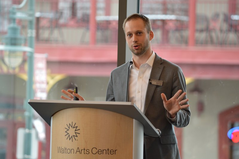 Martin Miller of TheatreSquared talked at the Northwest Arkansas Council's Winter Meeting about $12.5 million in pacesetting grants from the Walton Family Foundation. The grants will help pay for the professional theatre company's new venue in Fayetteville.