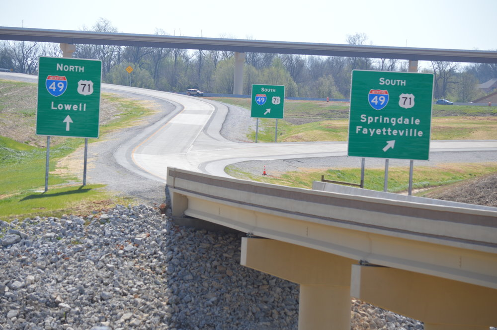 Those headed east on the new Arkansas Highway 612 will use a series of bridges and ramps before heading north or south on Interstate 49. The new highway should be open to traffic later this month.