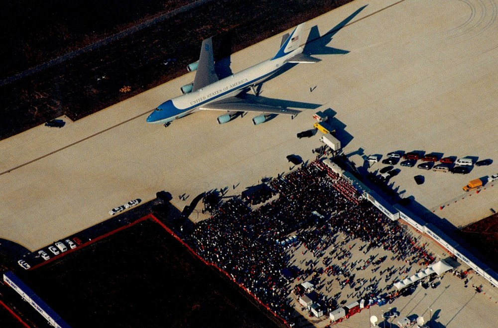 Air Force One has arrived at the Northwest Arkansas Regional Airport four times over 20 years. The first time was when President Bill Clinton arrived for the 1998 airport dedication ceremony.