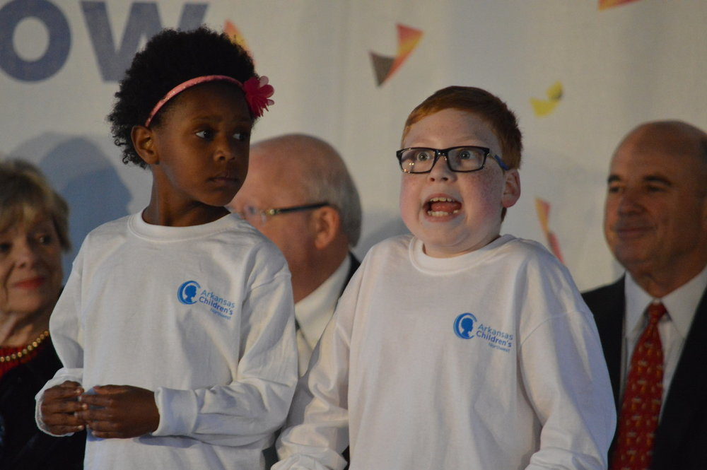The children who receive services from Arkansas Children's Hospital Northwest participated in the January ceremonies celebrating the opening of the new hospital.