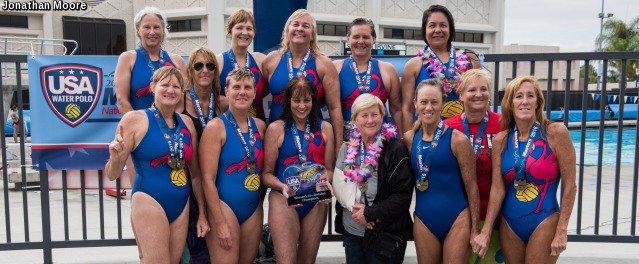 Members of the 55+ Master's Womens Water Polo champion Fighting Flamingos