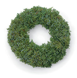 JUNIPER WREATH While not as fancy as some of our options, this simple Juniper wreath's blue juniper berries really add to the unique texture this wreath offers.