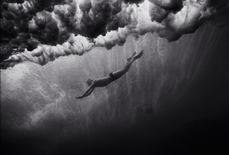 """Mark Cunningham under Breaking Wave    (B-110) /Edition #14/35, 2003/18, Archival Pigment print / 12""""x18"""" image size, 17""""x22"""" paper size"""