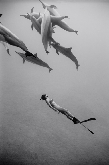 """Kimi Werner with Dolphins #1    (B-339) / Edition #2/25, 2011/18, Archival Pigment print / 24""""x16"""" image size, 25""""x17"""""""