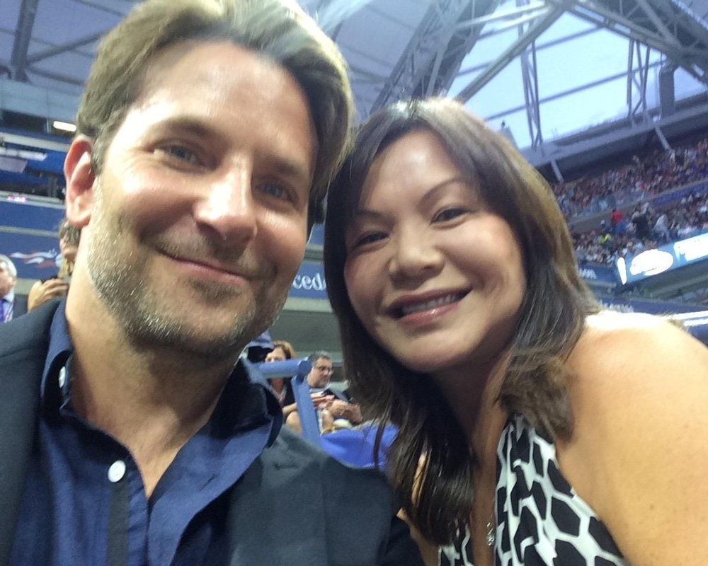 With Bradley Cooper watching Roger Federer,  US Open