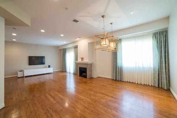 Lovely step down living room
