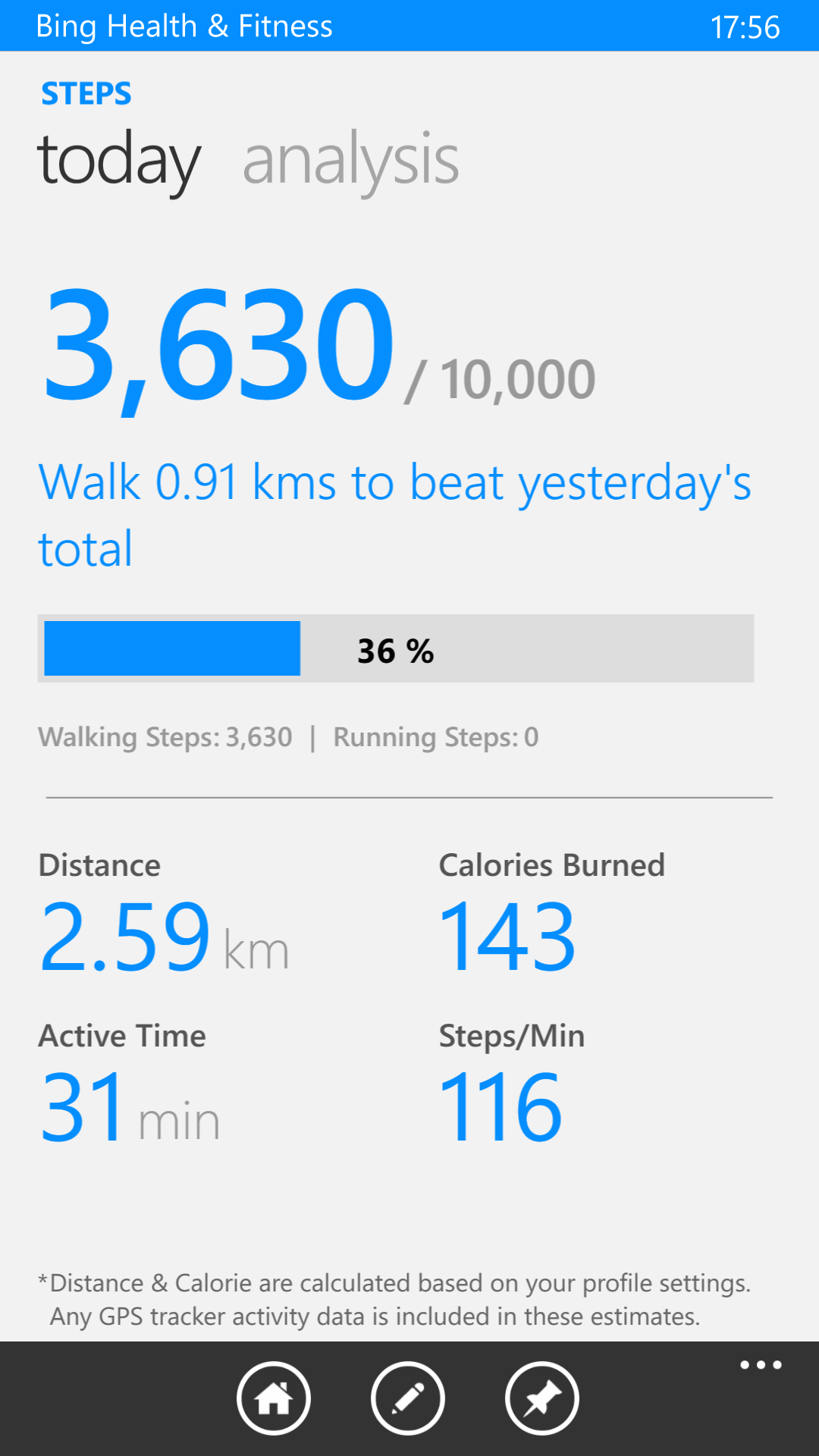 Bing Health & Fitness - Step Counter