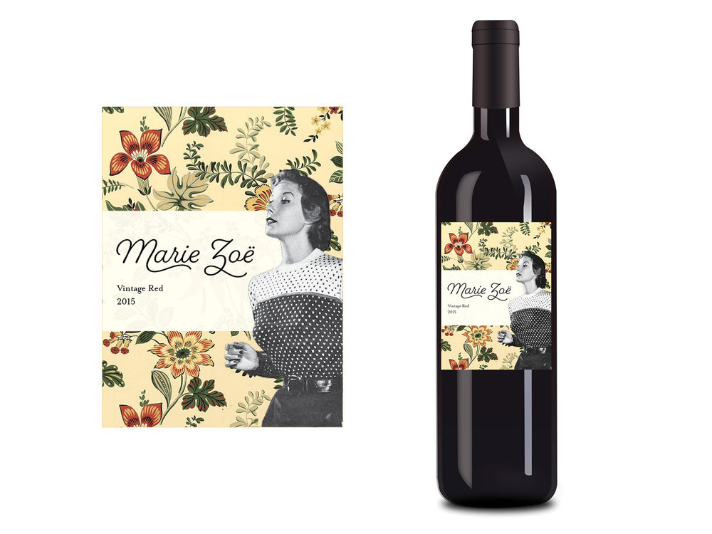 Custom wine label gift for Marie Zoe, a vintage thrift store.  *Freelance Custom label created as a personal gift.  Design direction:  Julia Perry, Eliza Young, Laurel Fisher.  Content:  Julia Perry.  Illustration/artwork:  Laurel Fisher  *Freelance