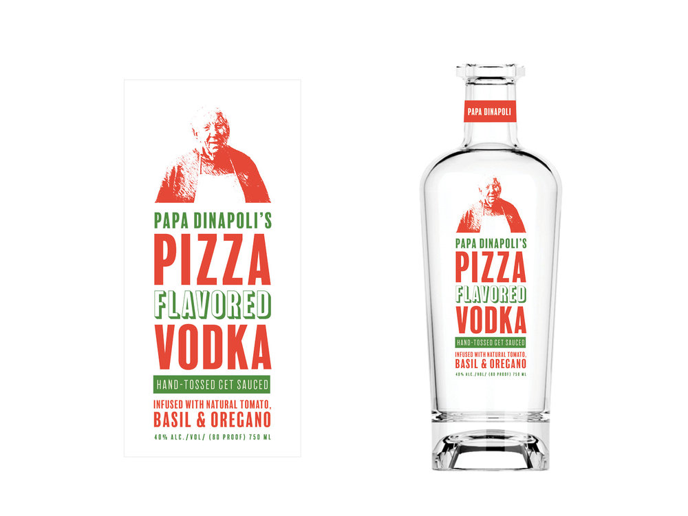 Concept stage for 'Papa Dinapoli's Pizza Flavored Vodka'. In memory of my old friend Al, I used a picture of him as 'Papa'. *Gravity Creative