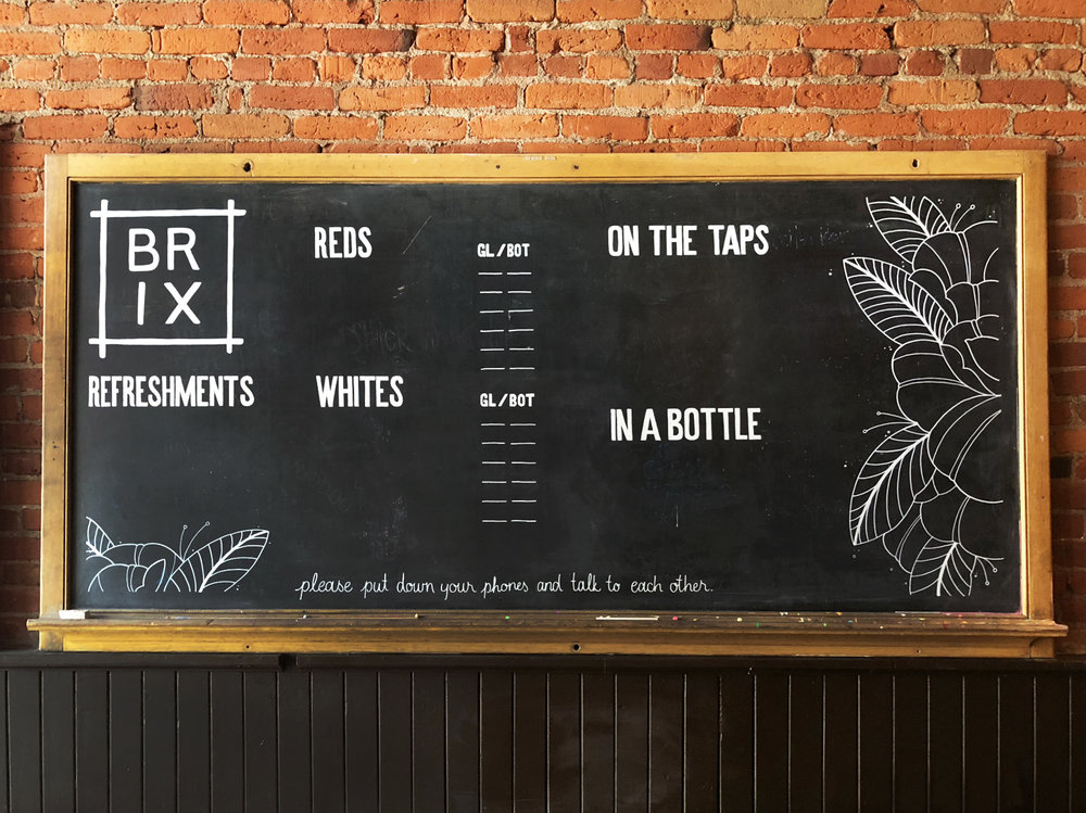 Hand-painted drinks menu for the local Ellensburg restaurant Brix.