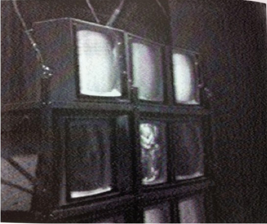 "Fig 5.rank Gillette and Ira Schneider, pe Cycle, 1969. Installation view from ""TV as a Creative Medium"" exhibition at the Howard Wise Gallery, New York, 1969.  This side view emphasizes the objecthood of the screens that compose the closed-circuit video environment. Courtesy of Frank Gillette and Ira Schneider."