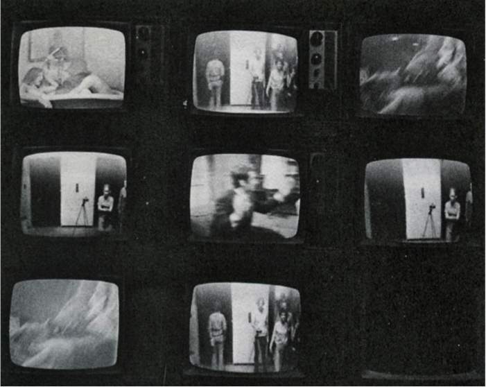 "Fig 7.rank Gillette and Ira Schneider, pe Cycle,969. Installation view from ""TV as a Creative Medium"" exhibition at the Howard Wise Gallery, New York, 1969. This view demonstrates how images of the viewers observing the work are captured by closed-circuit cameras and represented in the center and bottom screens. Courtesy of Frank Gillette and Ira Schneider."