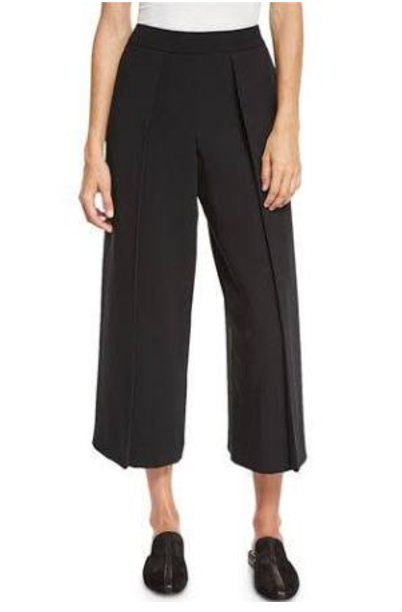 Rag & Bone Rowe Pleated Cropped Wide-Leg Pants, Black $395.00