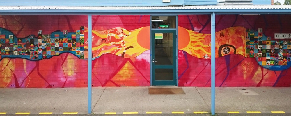 Office entrance near the beginning of the mural.