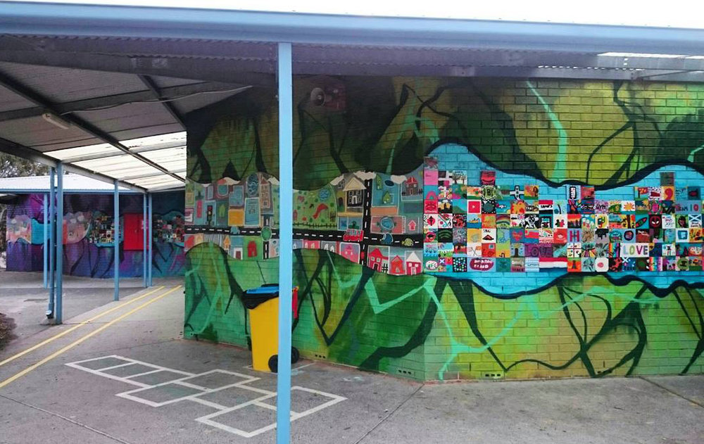 The green area of the mural represented present times, the blue the future.