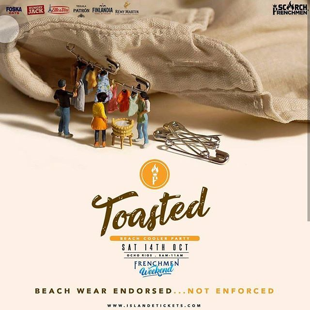 Beach wear endorsed but not enforced. 👙👓😉🌊🌞 ⠀ Get your tickets at Chilitos (KGN) or online at islandetickets.com  #1MoreDayToGo #TOASTED⠀ #GetToasted⠀ #ScorchJamaica #ScorchxFrenchmen⠀ #FrenchmenWeekend⠀ #HeroesWeekend⠀ @scorchmag @scorchjamaica⠀ @frenchmenparty