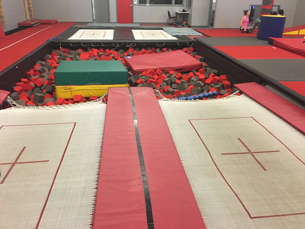 Two open ended trampolines for practicing landings, drills and higher level skills and endless fun.