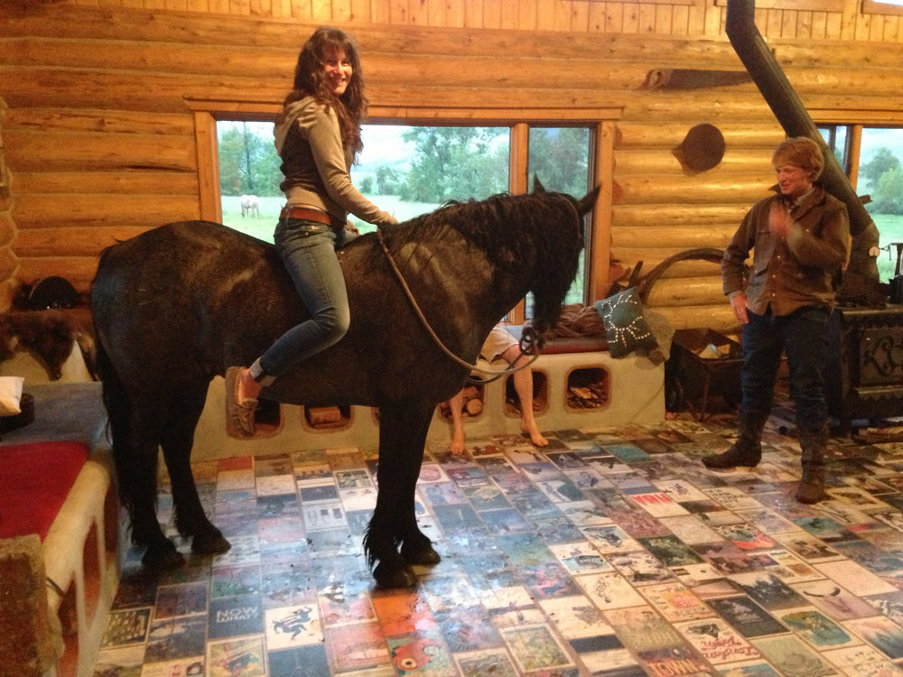 The day Ben Masters and I decided to ride his horse Tough from the movie Unbranded around the house!