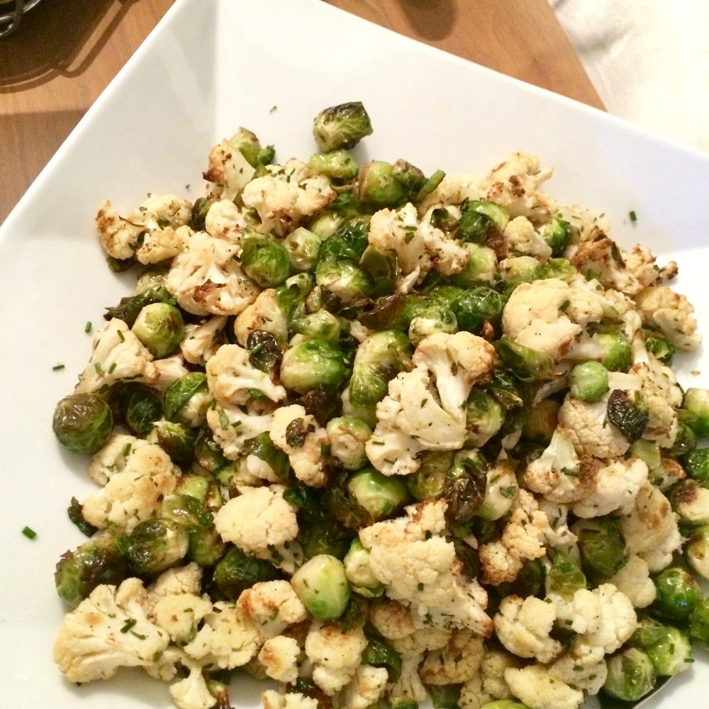 Roasted Brussels + Cauliflower