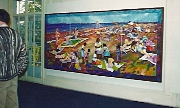At The Shore : pilgrimage and right of passage        4 panel folding screen - hanging flat on the wall