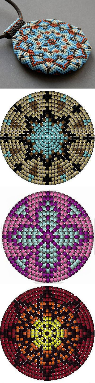 Beaded mandala patterns. These are so beautiful. I'm unsure if you use netting technique or peyote technique. I'm curious to find out.