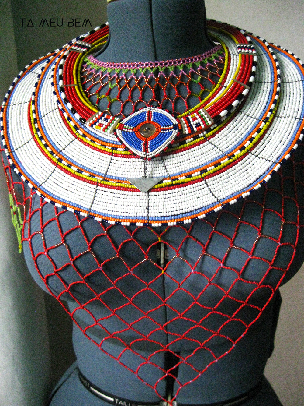Beadwork from Kenya mixed with my own beaded netting (Fully Adorned) style.