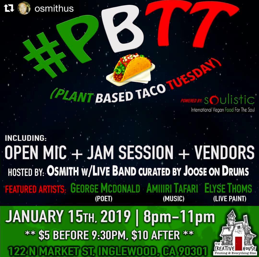"New Year= NEW THINGS! If you've been missing  @flightschoolopenmic  at all, then come through to  @plantbasedtacotuesday  on January 15th & join the turnUP! I'll be hosting the open mic with a 🔥 Live Band curated by  @jooseondrums , there will be a sign-up list like before with each artist getting 5min to do whatever your heart desires. Plus we have Feature performances from Poet  @gmanhn22 , Goddess Femcee  @amiiiritafari  & a live paint session from  @elysethoms ! We're starting the year with intentions of better everything for all of US, including HEALTH which is why I need all my artist homies to come try these  @soulisticfood  plant based tacos, taste the same as ""regular food"", it just does our bodies better.... Come find out for YOURSELF & get on the mic while you at it..."