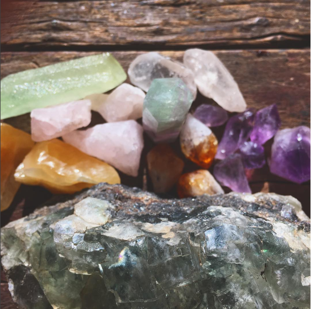 Various minerals [and the big piece of fluorite we found] I picked up recently from a gem store in El Paso, as well as a little shop here in Lakewood