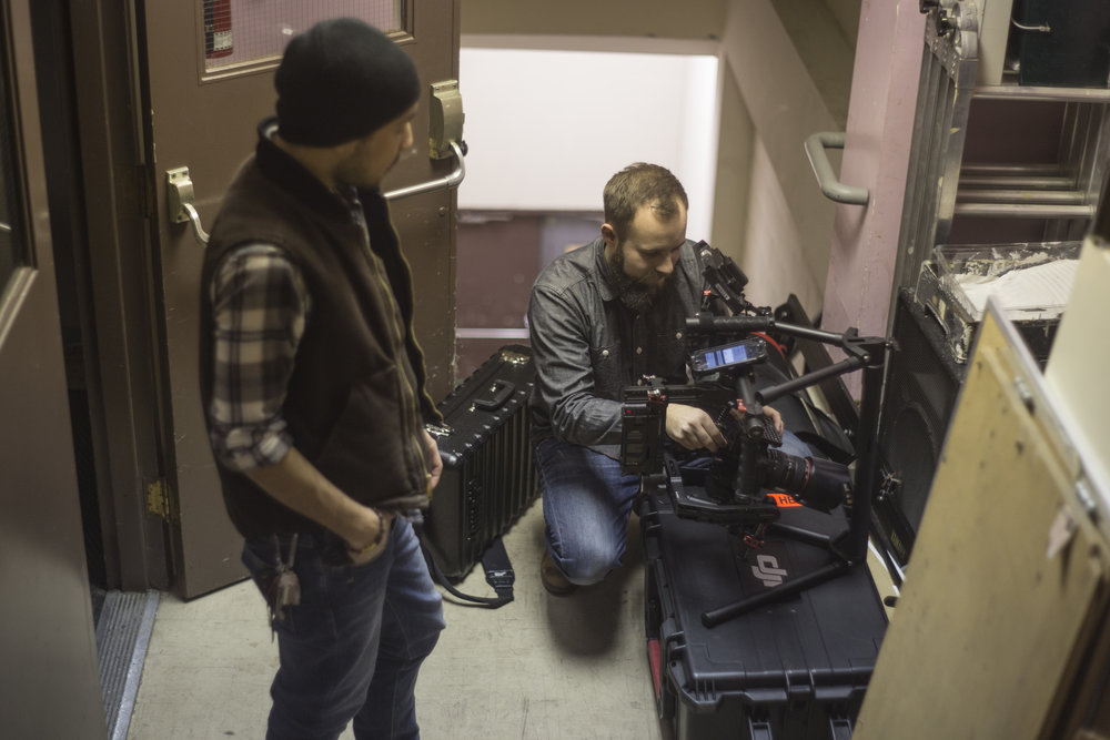 Setting up the Ronin in the back staircase.