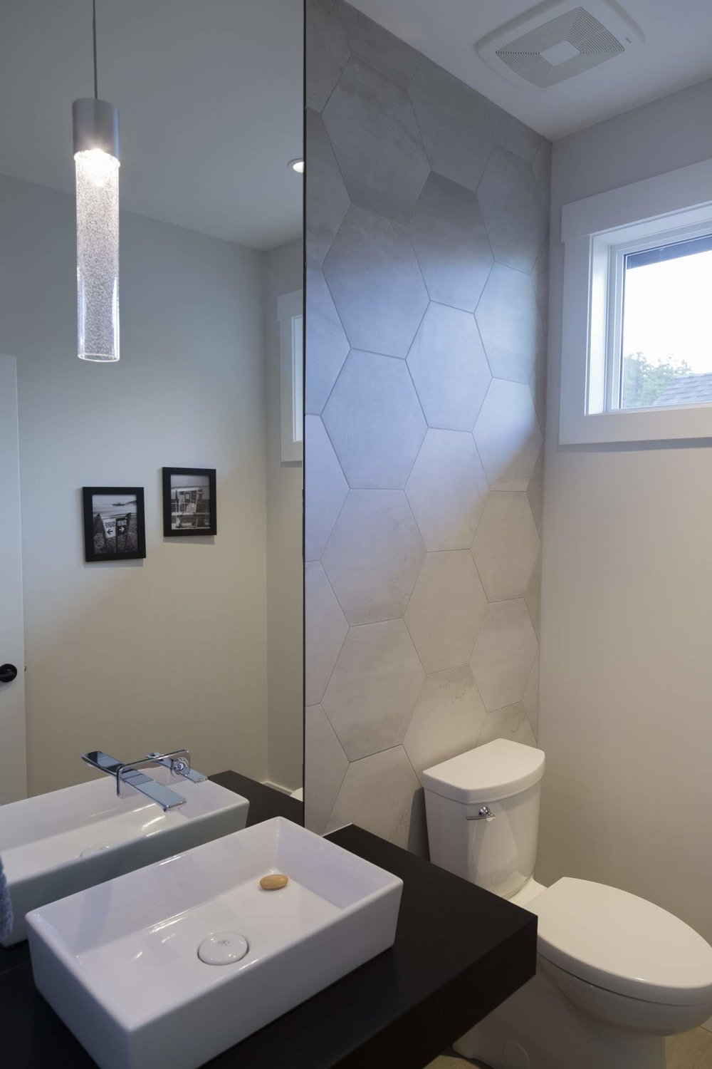 Powder Room with hexagon feature wall