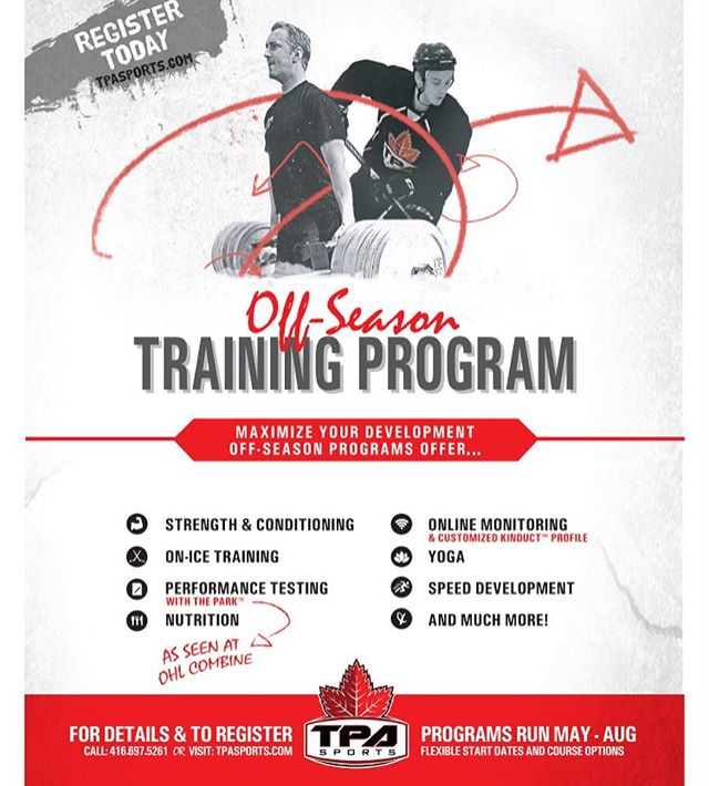 It's about that time of year! Registration is open for 2018 off-season training programs. Call or visit us online to book an appointment and build your customized off-season plan. ... 📆 Program begins May 7 ... 🏒 For program details and a full list of our exclusive training services visit www.tpasports.com/off-season-programs/ ... ✉️ jcook.tpa@gmail.com .... #nhl #ahl #echl #ohl #ncaahockey #usports #pwhl #ojhl #gojhl #gthl #hockeytraining #offseason #TPAFamily