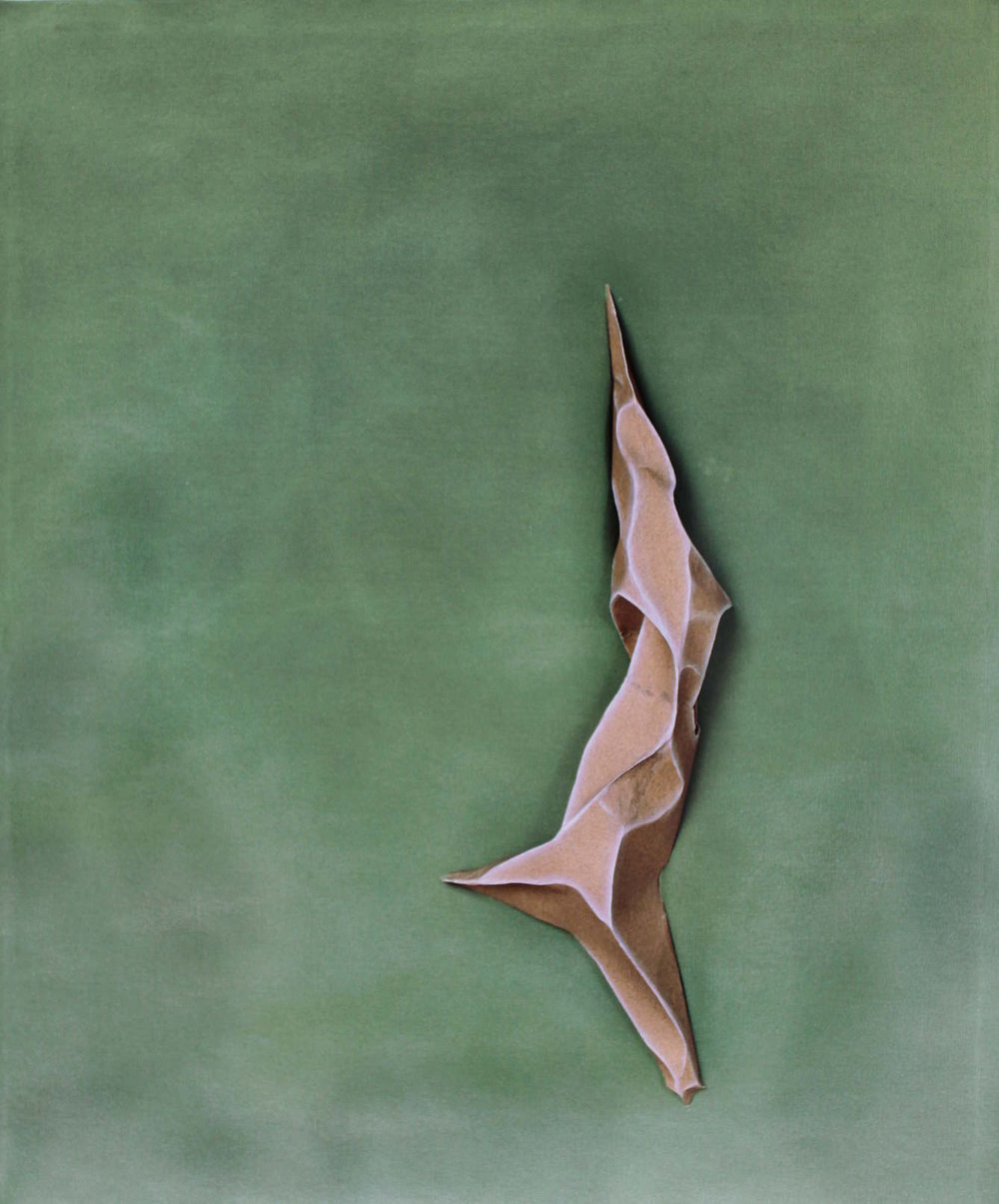 """Evergreen"" , 2015  Sandpaper, dry pigment and acrylic on canvas, 33"" × 27"" × 4""  Courtesy Sarah E.Brook and Carrie Able Gallery"